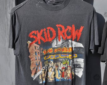 Vintage 1980s SKID ROW Youth Gone Wild Original T Shirt Sebastian Bach Front and Back Graphics Large