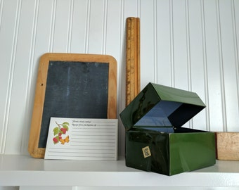 Forest Green Recipe or File Box With Two Recipe Cards, Standard Size, 3.5x5.25 on Front and 3x5.25 on Top, Metal, Cherry and Butterfly Cards