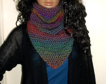 Hand Crochet Kerchief Cowl, Scarf, Neckwarmer, Winter Wear, Multi Colors, Winter Accessory, Triangle Cowl, Triangle Neckwarmer, Ombre