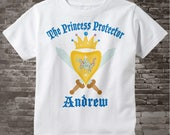 Boy's Personalized Princess Protector Big Brother Tee Shirt or Onesie with Your Child's Name 02112014b