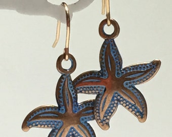 Earrings-Antiqued Copper Blue Patina Starfish Earrings-14K Rose Gold Filled Ear Wires-Short Drop Dangle-Sea Creature-Beach-Boho Jewelry-Her