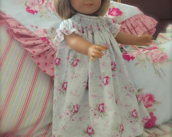 Doll 18 inch and 13 inch  Hand Smocked Dress Juvie Moon Designs Heirloom Vintage Blue Rose and Lace and Matching Girl Hand Smocked Dress