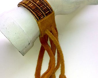 Vintage Fringed Adjustable Suede and Bead Native Design Bracelet - Beaded Native Design Bracelet