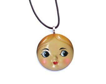 Retro Doll Face Necklace - Doll Pendant - Doll Collector Gift - Mother's Day Gift
