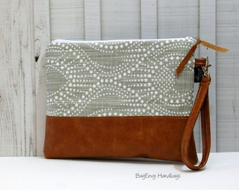 Grab N Go Wristlet Clutch - Pearl Rays In Grey with Vegan Leather