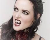 Laser Cut Leather Adjustable Crown - Black Lace Floral Tiara Diadem Headpiece - EMPRESS