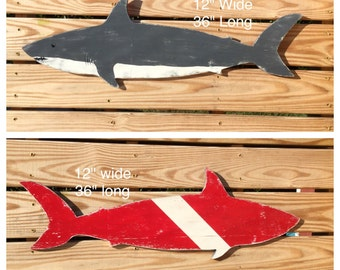 Shark Sign LARGE Choose Traditional or Red Dive at Checkout Nautical Nursery