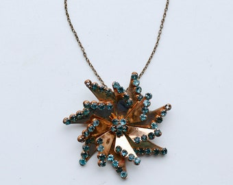 1940s gold filled blue rhinestone pinwheel pin pendant / 40s retro vintage gf copper aqua teal rhinestone necklace
