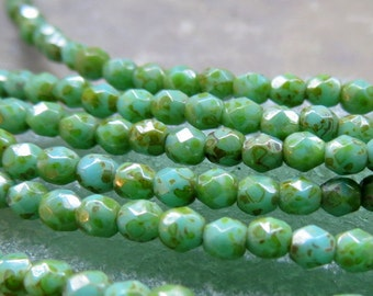 NEW GREEN TURQUOISE .  Czech Picasso Glass Beads (50 beads) 3 mm