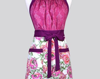 Cute Kitsch Womens Apron - Berry Floral Retro Full Coverage Adjustable Vintage Style Kitchen Chef Apron with Pockets Ideal Gift for Cooks