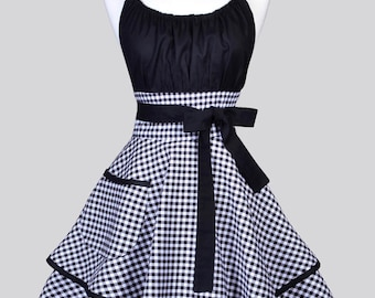 Womens Flirty Chic Apron / White and Black Gingham Cute Retro Vintage Style Pin Up Kitchen Cooking Apron with Pockets