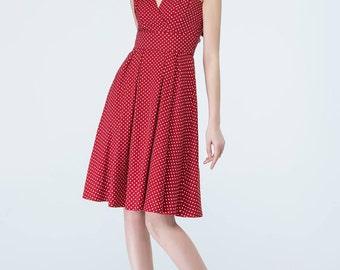 red polka dot dress, sleeveless dress, fitted dress, high waisted dress, summer dress, beach dress, cute dress,v neck dress,swing dress 1706
