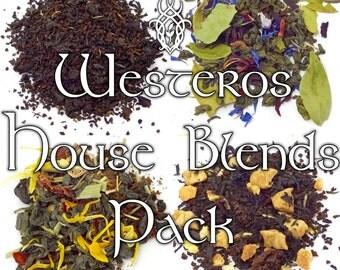 Game of Thrones House Blends Pack- Stark, Targaryen, Lannister, Baratheon, Westeros, loose leaf black tea, loose leaf green tea, fandom tea