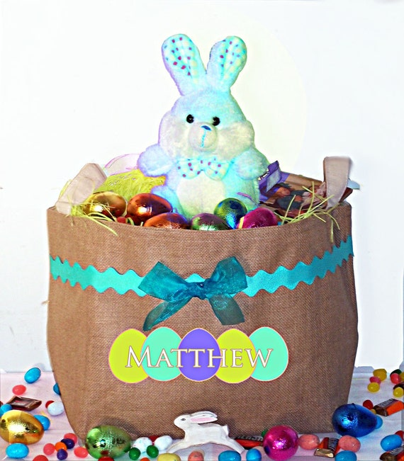 Easter Baskets, Personalized Easter Basket, Easter Bucket, Bunny Basket, Egg Basket, Boys Easter Basket, Boys Easter Gift, Burlap Toy Box