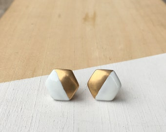 Painted Hexagon Studs | Vintage Brass Studs | E31614