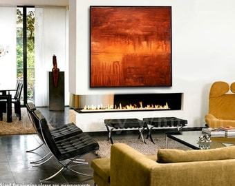 Large Abstract Painting Original Modern Art Textured Square Oil Painting Amber Red High Gloss Contemporary Red Painting 36x36 Palette Knife