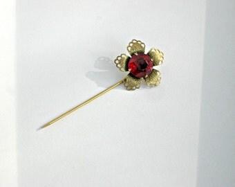 Red Rhinestone Stick Pin Brooch Vintage Jewelry Filigree Flower
