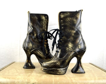 Vintage 90s Spiderweb Tall Grunge Punk Club Kid Boots Lace Up Shoes - Underground