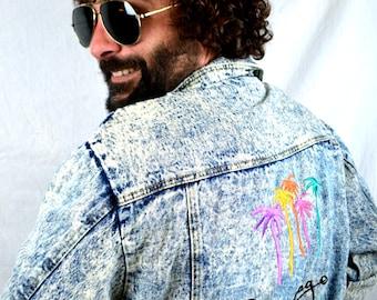 Awesome Vintage 1980s Acid Wash Denim Rocker Jacket Coat - Mirage Las Vegas