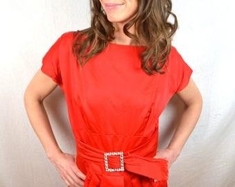 Amazing Red 50s 1950s Rhinestone Party Dress