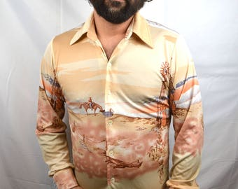 Vintage 1970s 70s Western Scene Polyester Button up Shirt
