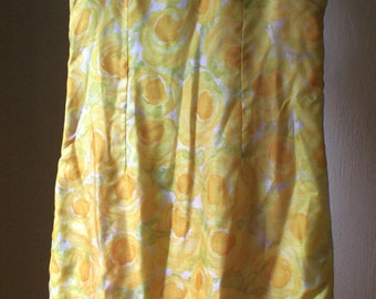 1960s lemon yellow rose sheath wiggle dress size size medium large