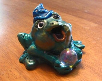 """Wizard Frog Sculpture Figurine - Crystal Ball Gazing Magic """"Creature Creature"""" by George Mahana - Toad, Familiar, Animism, Paperweight"""