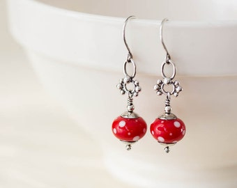 Bright Red Earrings, Red and White Polka Dot earrings, Unique artisan jewelry, Red lampwork earrings, Sterling silver glass bead dangle