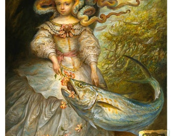Spanish Mackerel (print) fantasy art octopus girl portrait