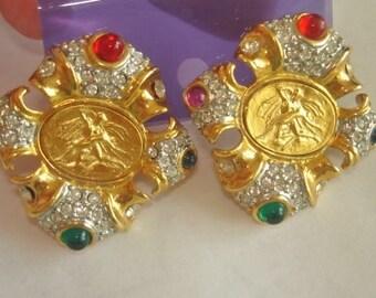 Ballet Dancers Rhinestone Clip Earrings Gold Tone