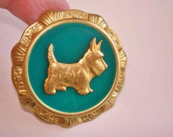 Green Gold Terrier Dog Brooch
