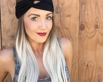 Boho Black Turban Headband || Stretch Bohemian Jersey Knit Festival Hair Band Accessory Woman Girl Workout Yoga Fashion Turband Head Scarf