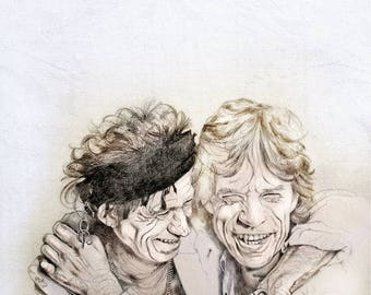 Rolling Stones, Mick Jagger and Keith Richards, Print from original drawing, custom portrait ART Illustration