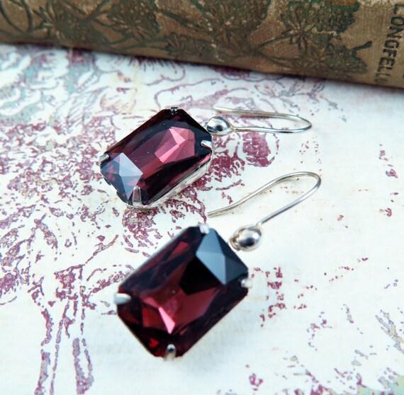 Amethyst Earrings Rhinestone Earrings Purple Earrings Estate Style Jewelry February Birthstone Sterling Silver