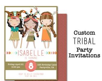 Tribal Girl Birthday Invitation, Custom Party Invitation, Girls Birthday, Personalized Invite, Native American, Woodland, Feather, Arrows