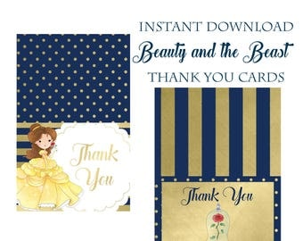 Beauty and the Beast Party thank you cards, Instant Download, Printable Party Supplies, Belle Princess Birthday, Disney movie