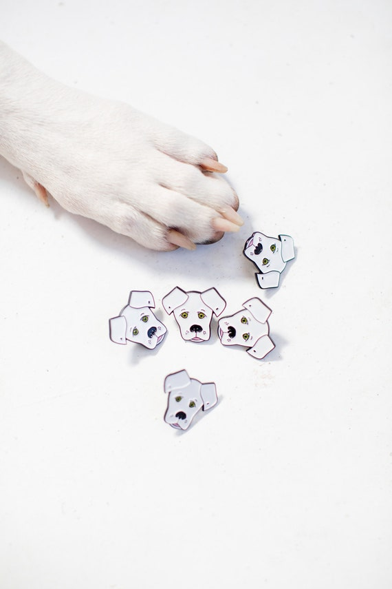 """Enamel Pin - White Dog Face - Stationery & Gift - Accessories - 1 Pin - 1.25"""""""