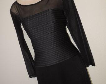 vintage tadashi black bandage dress 80s body con mesh illusion bodice little black dress medium