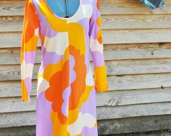 Vintage 1960s Hippie Abstract Princess KKaiulani Long Maxi Dress