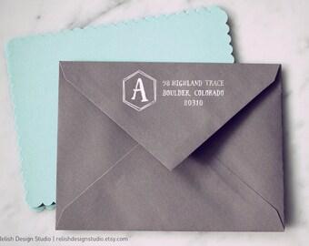 Hexagon Initial Address Stamp 147, Monogram Return Address Stamp, Custom Personalized Address Stamp, Newlywed Gift, fun stationery
