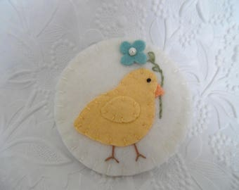 Easter Chick Brooch Pin Primitive Felt Flower Spring Bird