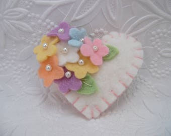 Felt Flower Brooch Spring Pin Beaded Heart Wool Mothers Day