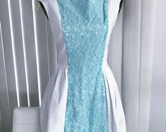 Super Cutie Patootie Retro 60's Styled White and Baby Blue Lace Dress -- Size M
