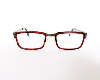 90s Lanvin Rectangular Eyeglasses Frames Unisex 1990's Tortoiseshell with Gunmetal Detail Frames Model LV 3123 Made in France #M874 DIVINE