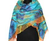 HandmadeNuno Felted Wrap Scarf Hand Dyed Multicolor Wool Silk Felt OOAK Gift
