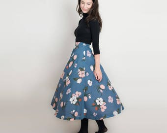 Vintage Bold Floral Midi Skirt - 1970s Blue Silk Floral Skirt - 70s Full Skirt with Pink Flowers - Tall Midi Length or Petite Maxi Skirt - S