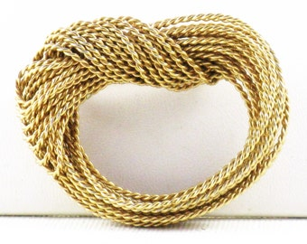 Vintage Napier Nautical Gold Tone Metal Knotted Rope Brooch Pin (B-2-5)