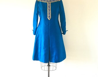 1960s Mod Vintage Blue Silk Shantung Beaded Dress A-Line Space Age Malcolm Starr Cocktail Dress M