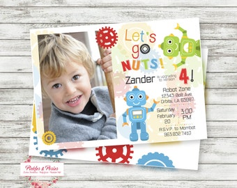 Robot Birthday Photo Invitation - Printable Photo Birthday Invitation - Robot Party Supplies - Digital File