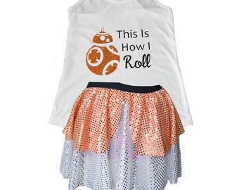 BB8 Costume, Star Wars Costume, BB8 Shirt, BB8 Tank, Sparkle Skirt, Running Skirt, Running Costume